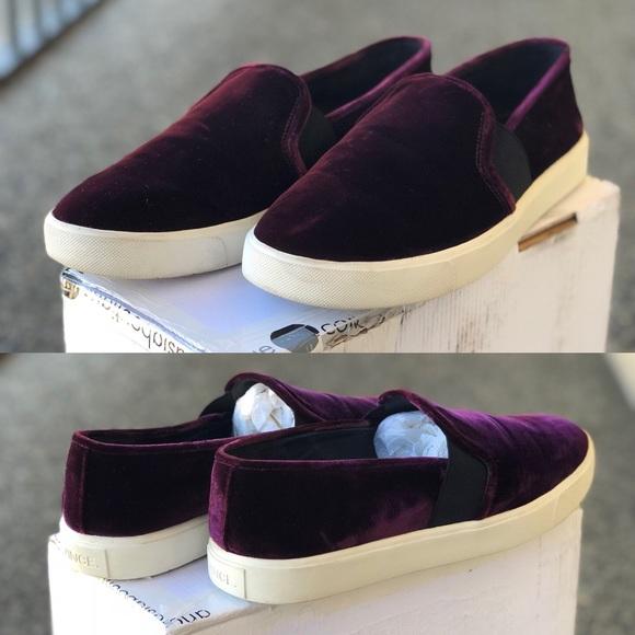 4d1827275dff VINCE Oxblood Blair 12 Velvet Skate Sneakers SZ 10.  M 5b3100859fe486b69169c176